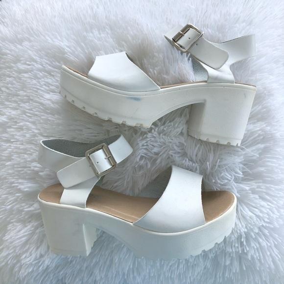 Boohoo Shoes | White Platform Sandals